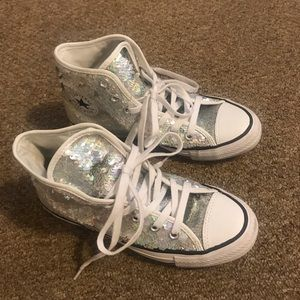 Silver sequins converse high tops